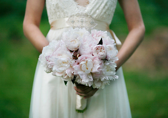 Light pink peony bridal bouquet & lace wedding dress