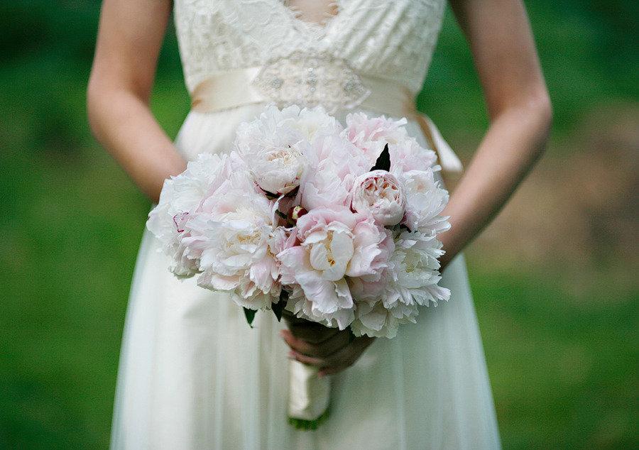 Light Pink Peonies Bouquet ivory light pink peony
