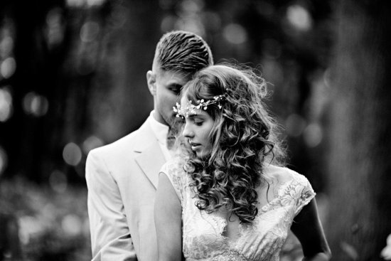 photo of romantic spring wedding outdoor venue bohemian bride floral hair wreath