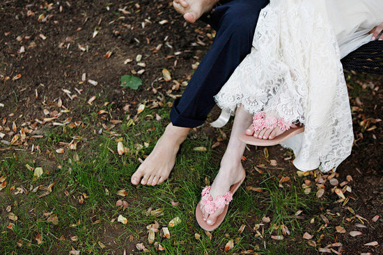 romantic spring wedding outdoor venue barefoot bride groom