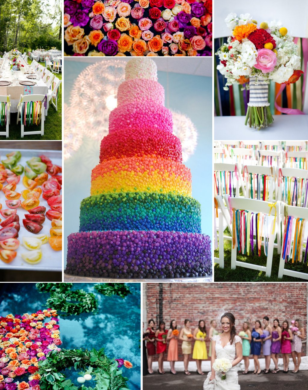 Wedding color inspiration rainbow bridesmaids wedding cake decor junglespirit