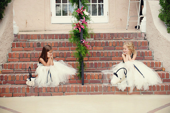 flower girl dresses tulle black and white