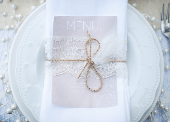 lace feather wedding reception place setting