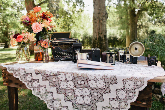outdoor wedding lace covered welcome table