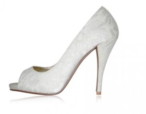 photo of white lace wedding shoes peep toe