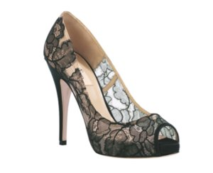 photo of sheer lace wedding shoes nude black