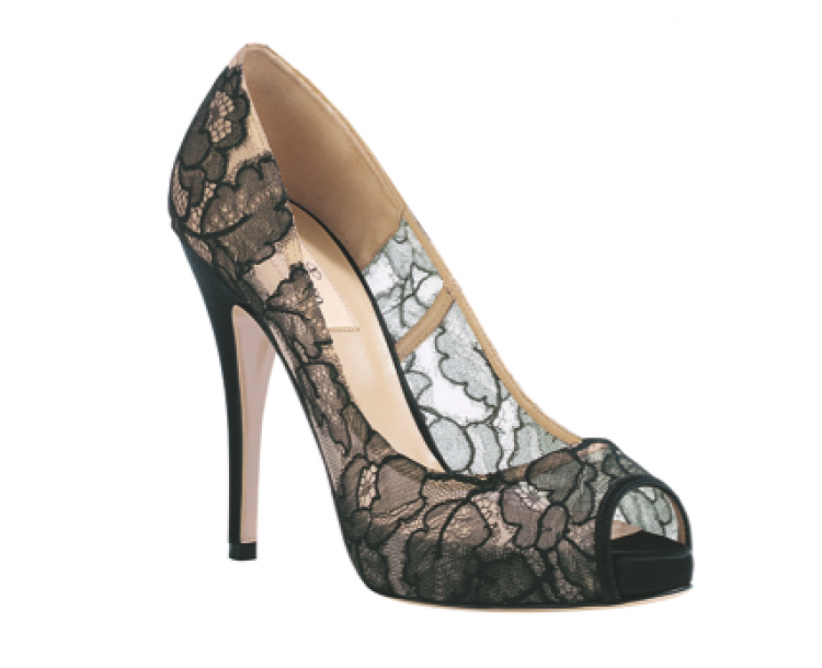 Sheer Lace Wedding Shoes Nude Black