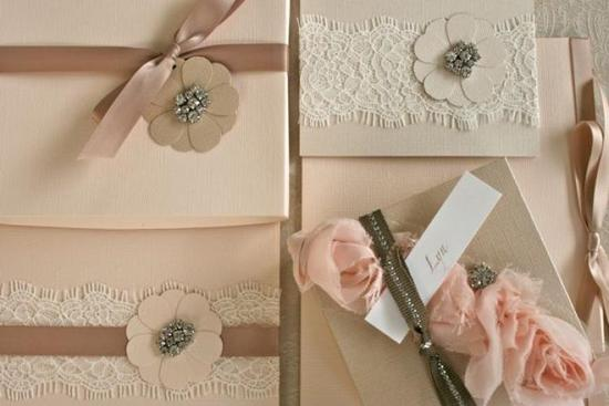 lace adorned wedding invitations