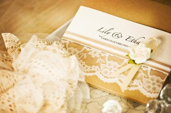gold ivory lace wedding invitations