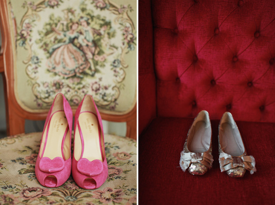 photo of love filled real wedding pink wedding shoes