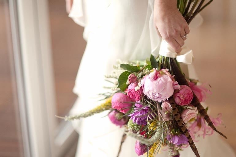 Pink Peony Wildflower Bridal Bouquet Spring Wedding Flowers