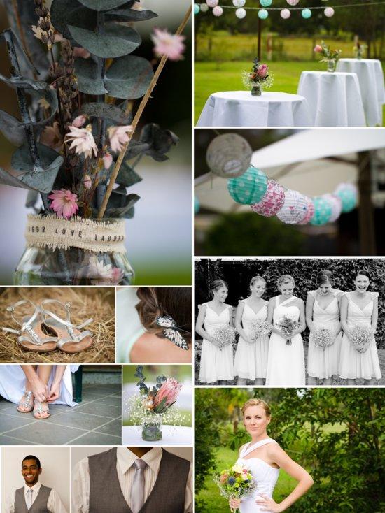 photo of romantic real wedding outdoor venue mason jar wedding centerpieces