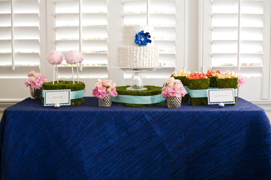 cobalt blue wedding reception dessert table wedding cake