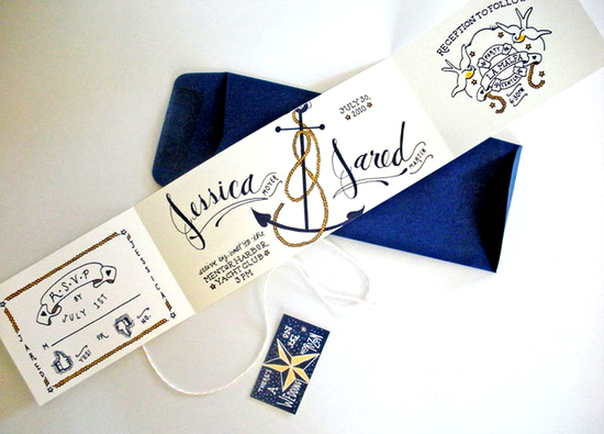 Jessica Jared Sailor Tattoo Wedding Invitations