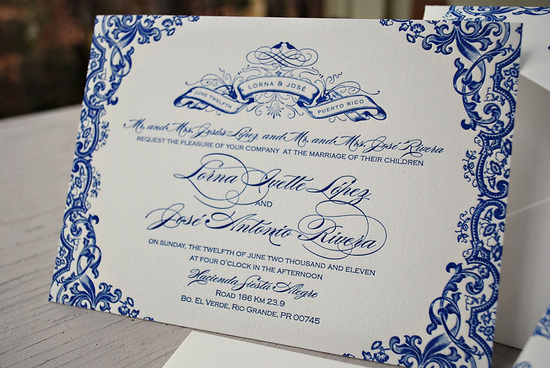 Blue Letterpress Puerto Rico Wedding Invitations Text