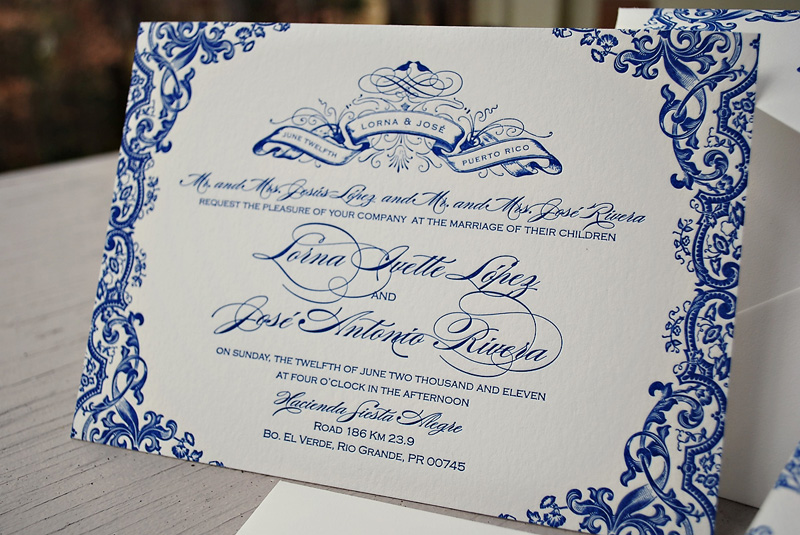 Royal Blue Wedding Invitation Cards: Blue Letterpress Puerto Rico Wedding Invitations Text