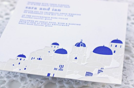 greek wedding invitations cobalt blue ivory 12