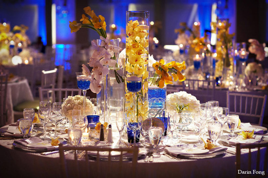 yellow blue modern wedding Hotel Del Coronado