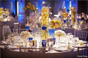 photo of details hotel del coronado cobalt white yellow wedding centerpiece 1