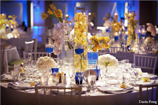 details hotel del coronado cobalt white yellow wedding centerpiece 1