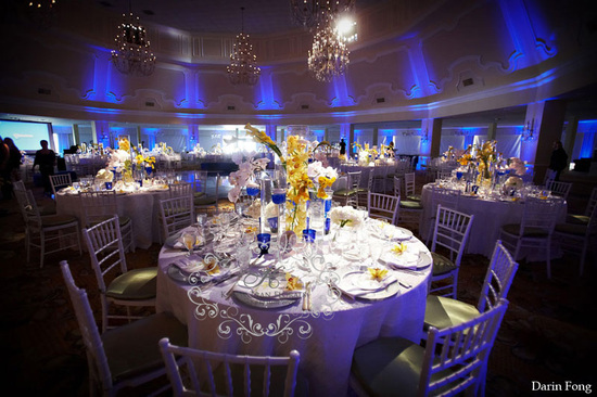 Cobalt blue wedding Hotel Del Coronado grand ballroom