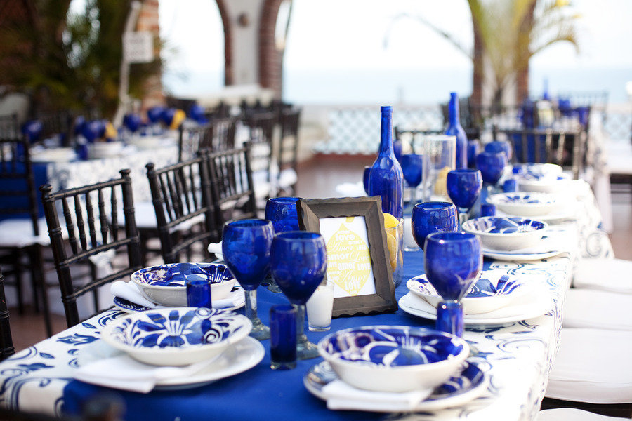 Wedding Color Palettes Bridal Inspiration From Real Weddings Cobalt Blue Lemon Yellow Tablescape Out