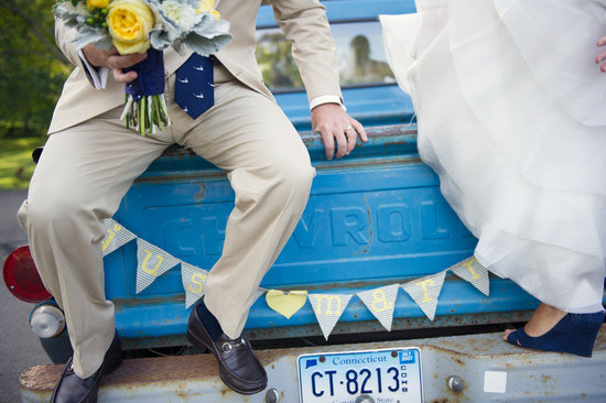 cobalt blue lemon wedding inspiration bride groom