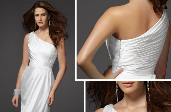 2012 wedding dress by bebe one shoulder grecian inspired