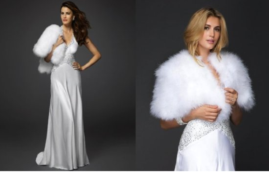 bebe bridal gown winter wedding fur shrug