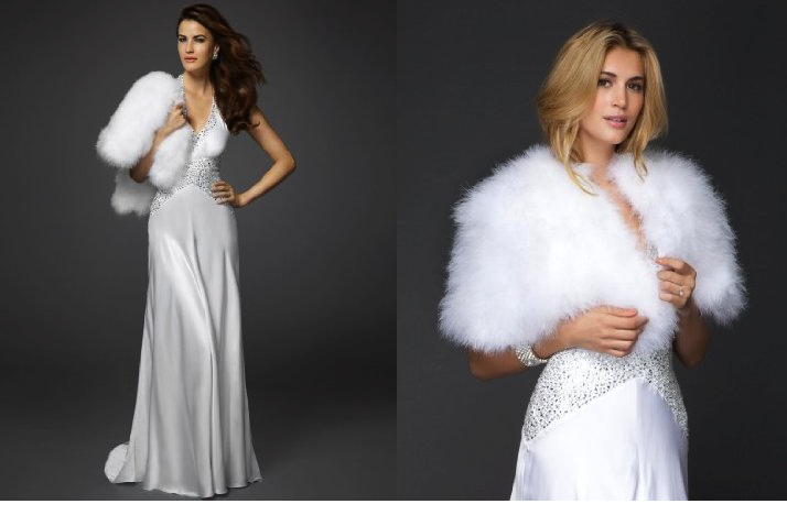 Bebe bridal gown winter wedding fur shrug for Wedding dress with shrug