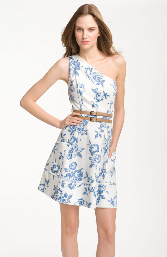 photo of One-shoulder printed cotton bridesmaid dress