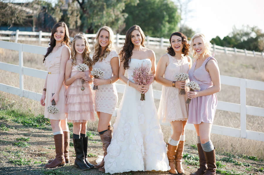 Outdoor Wedding Country Western Footwear Pastel Printed Bridesmaid Dresses