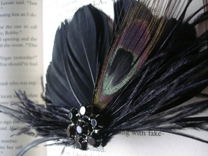 photo of Black peacock bridal fascinator