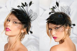 photo of Black peacock mini bridal hat