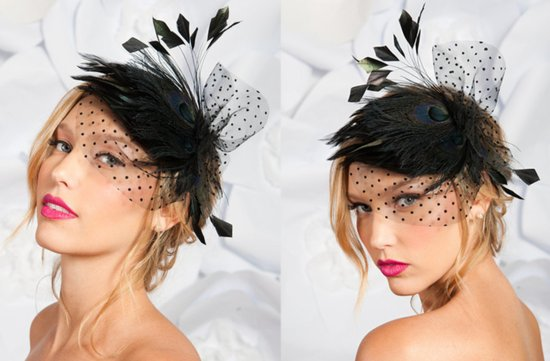 haute couture black bridal headpiece wedding hair accessory