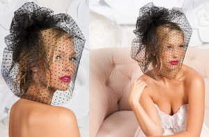 photo of Black tulle polka dot birdcage veil