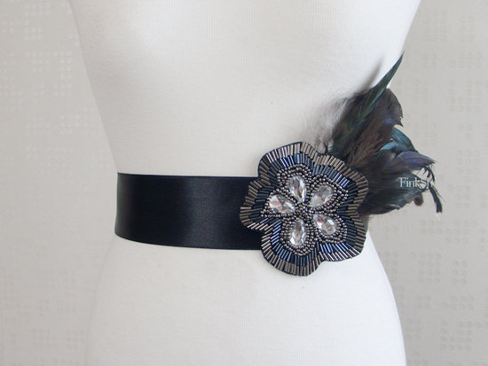 photo of Embellished black bridal sash