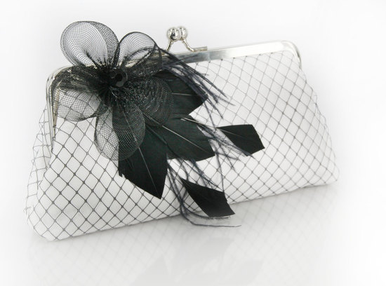 white black bridal clutch