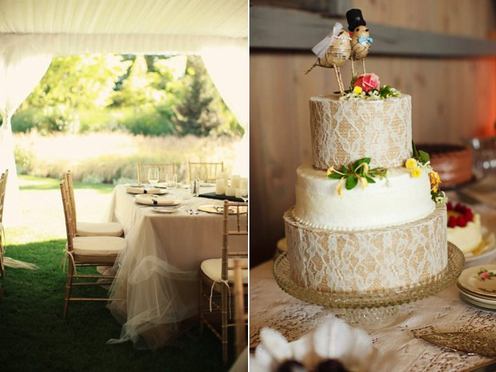 Wedding Inspiration Tulle Reception Table Cloths Lace Adorned Cake Outdoor