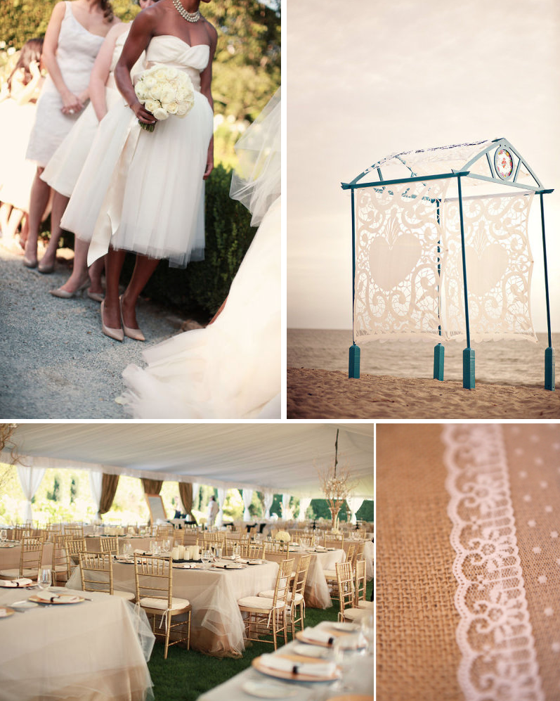 Romantic Wedding Inspiration Tulle Reception Table Cloths Lace Adorned Wedding Cake Outdoor