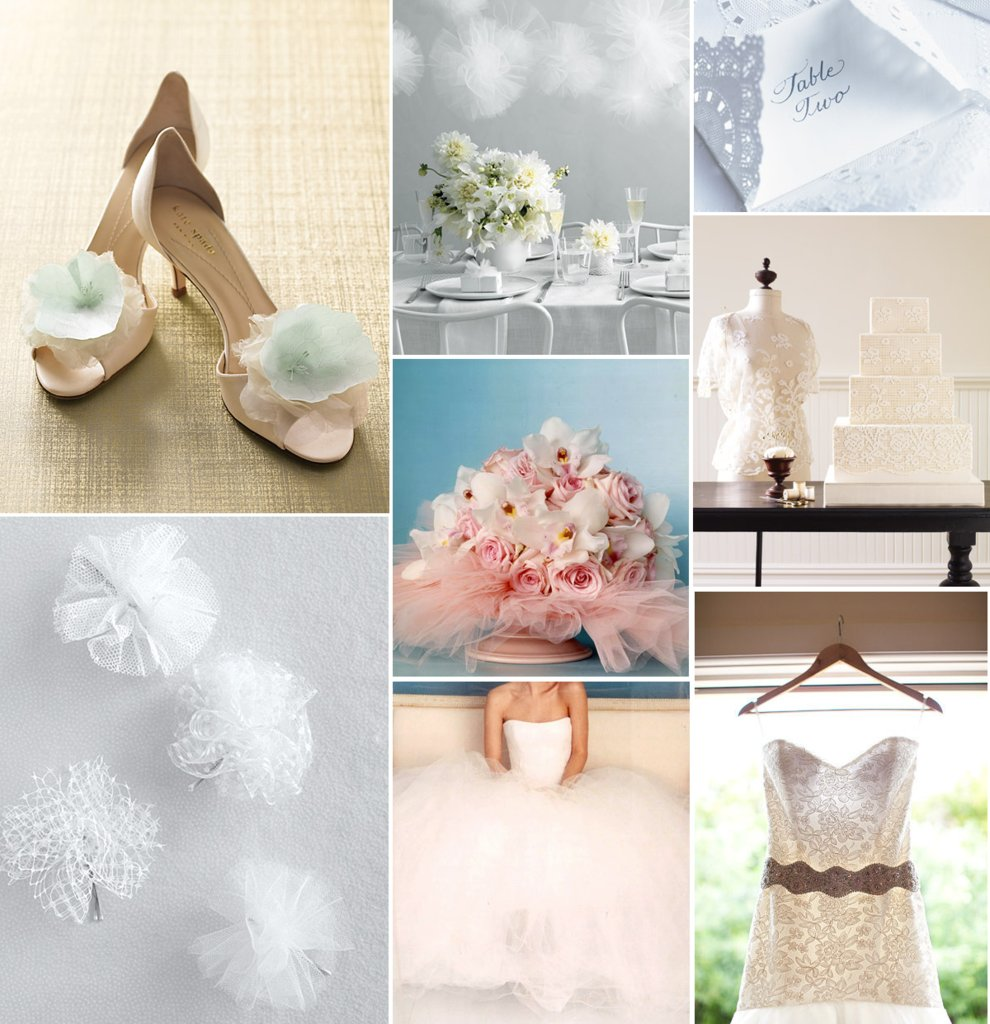 photo of tulle and lace wedding inspiration bridal gowns bouquets wedding shoe hair accessories