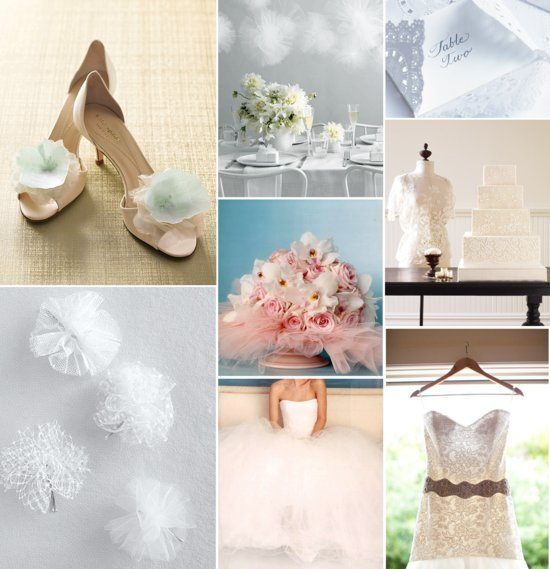 tulle and lace wedding inspiration bridal gowns bouquets wedding shoe hair accessories