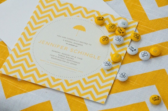 bridal shower wedding invitation yellow white modern