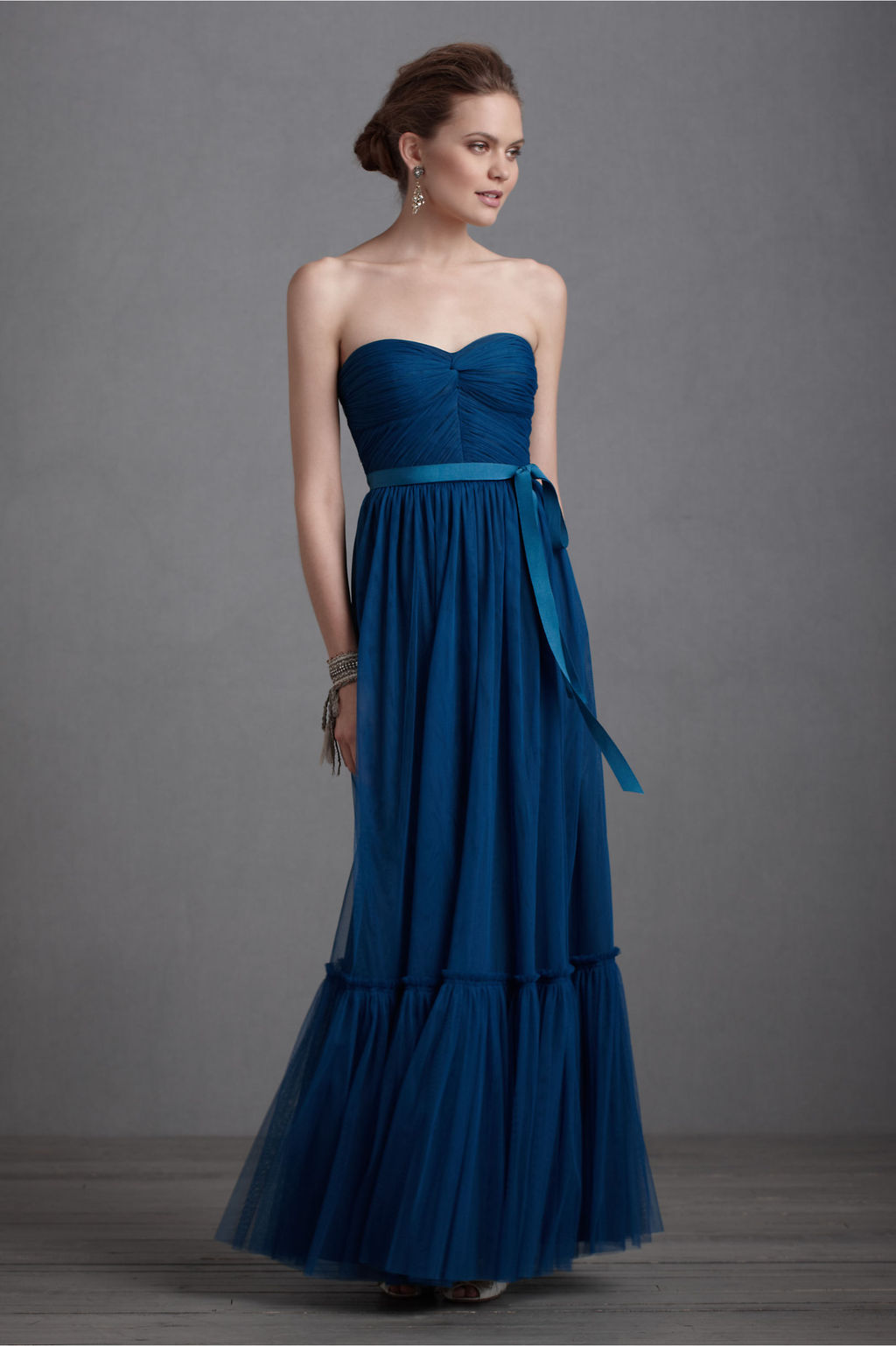Elegant navy blue bridesmaid dress long gown bhldn for Blue long dress wedding