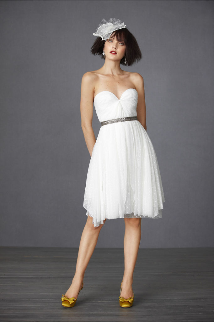 photo of Confetti Rush little white wedding reception dress
