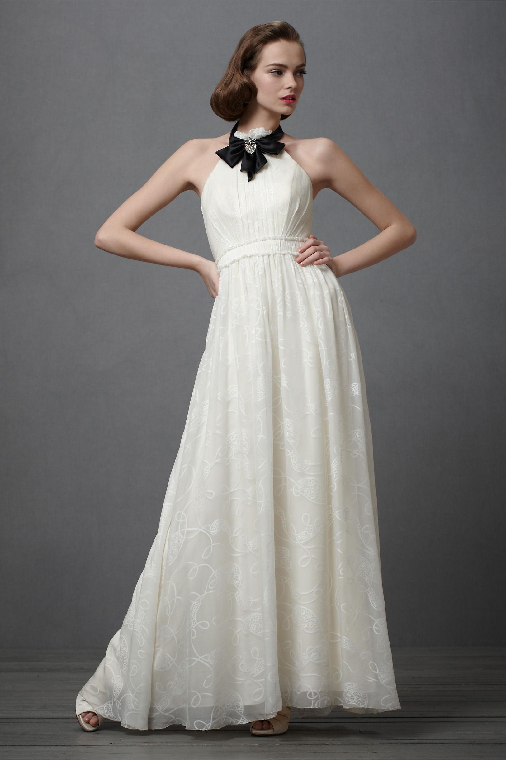 Vintage inspired wedding dress ivory silk black bridal for Silk vintage wedding dresses