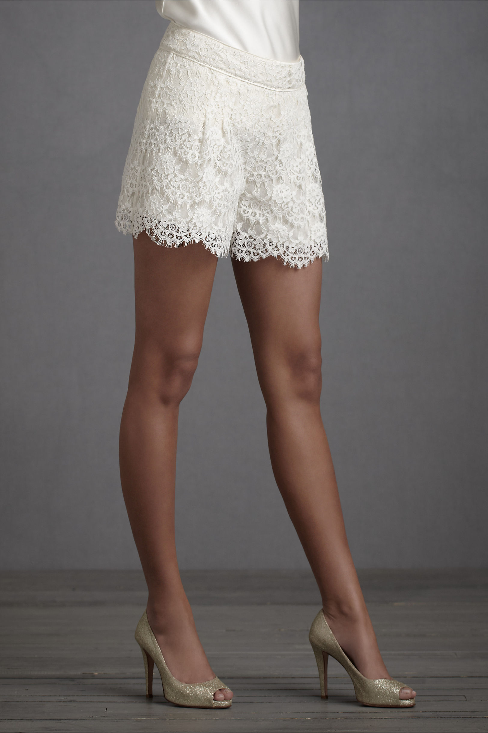short lace shorts for brides rehearsal dinner or