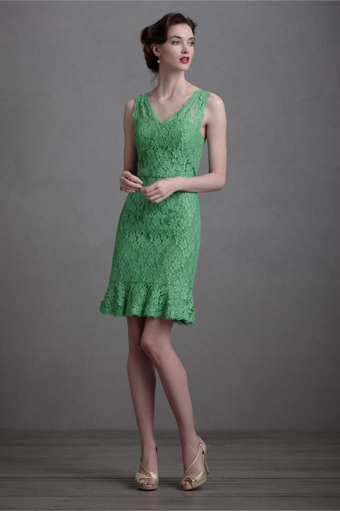photo of Green lace sheath bridesmaid dress