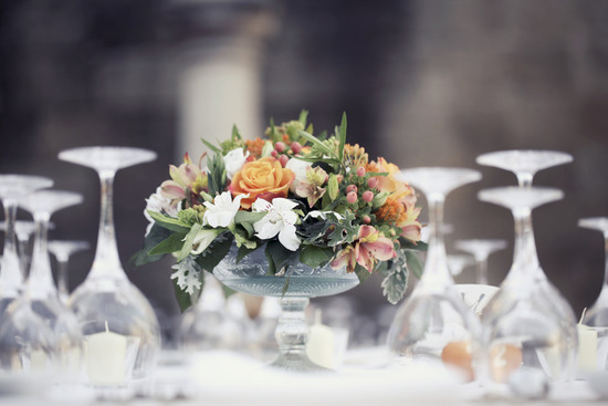 romantic garden wedding reception centerpieces peach orange green white