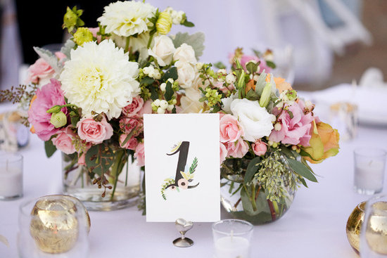 romantic garden wedding centerpieces table numbers
